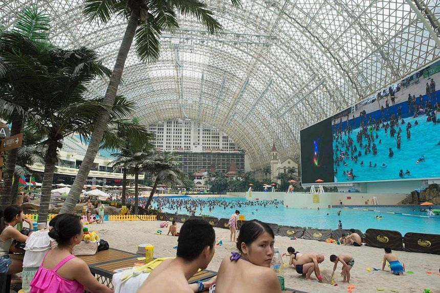 A general view of the water park in the New Century Global Centre.
