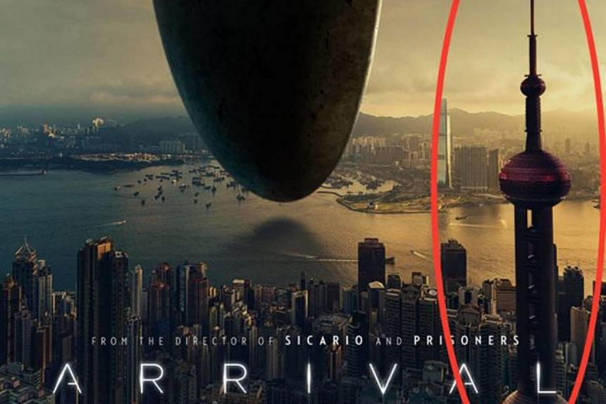 The poster for the upcoming Hollywood movie Arrival showed a Shanghai landmark on Hong Kong's skyline.