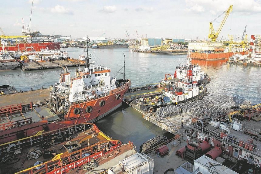 A view of oil-services provider Swiber's shipyard in Singapore on July 10, 2013.