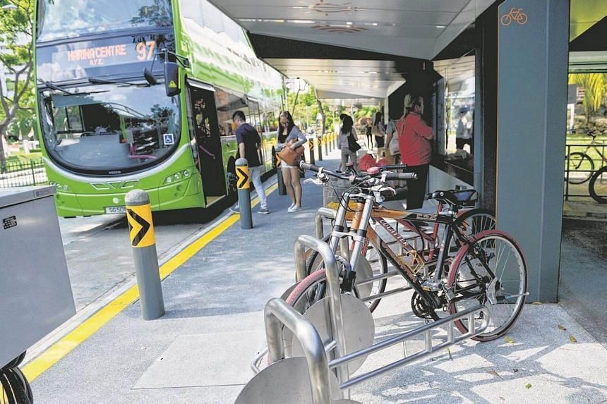 Bicycle racks at the bus stop.