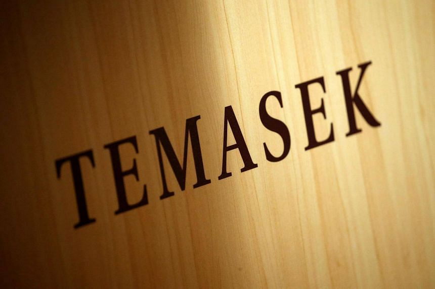 A Temasek logo is seen at the annual Temasek Review in Singapore on July 7.