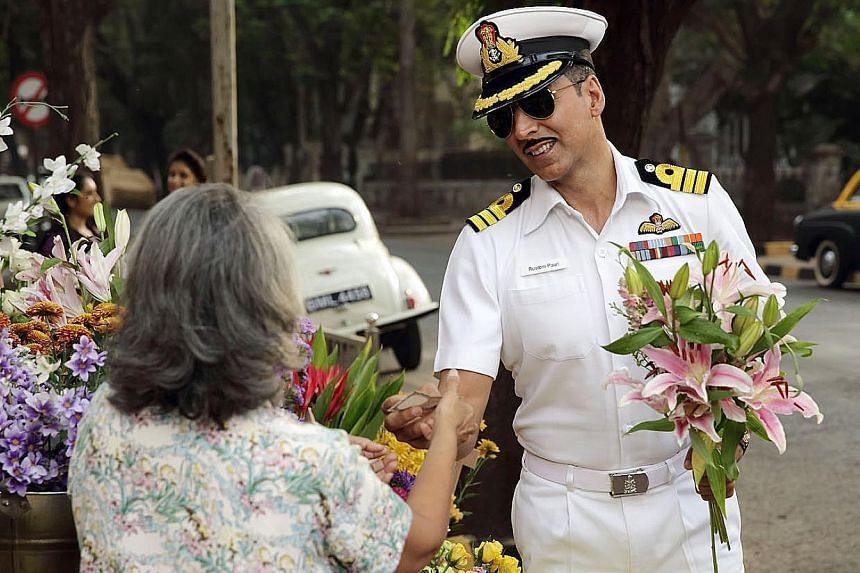 Akshay Kumar as naval commander Rustom in the romance-thriller film.