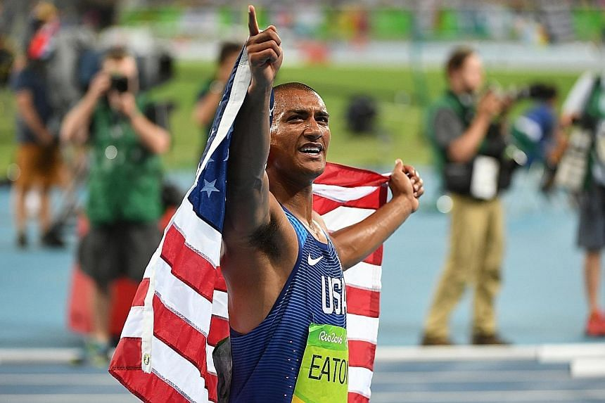 In capturing the gold medal at the Rio Games on Thursday, American Ashton Eaton became just the third man to win consecutive decathlon titles.