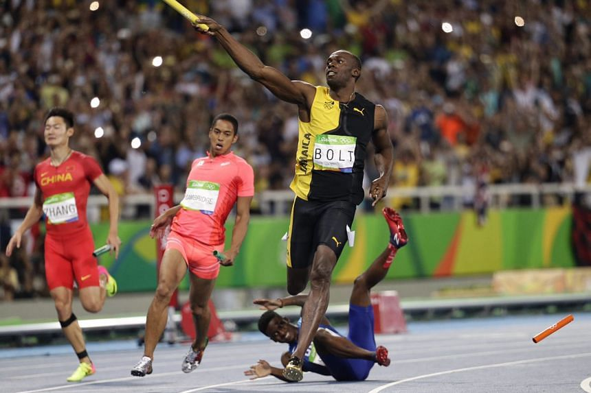Usain Bolt completes the 'triple-triple' after Jamaica won the men's 4x100m relay.