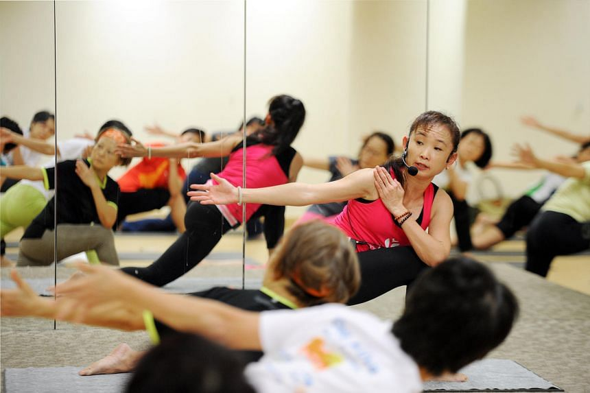 Participants at the Body Balance class at True Fitness gym.