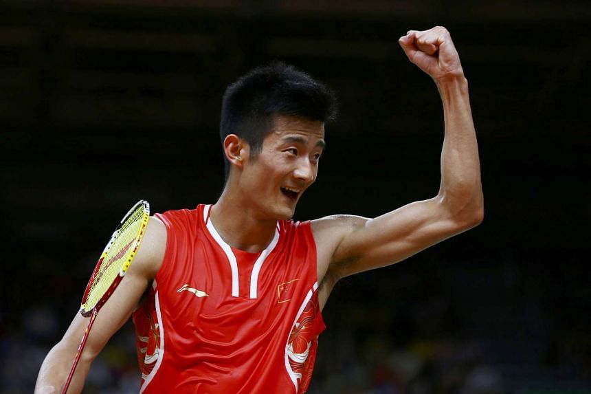 China's Chen Long celebrating during his match with Lee Chong Wei.