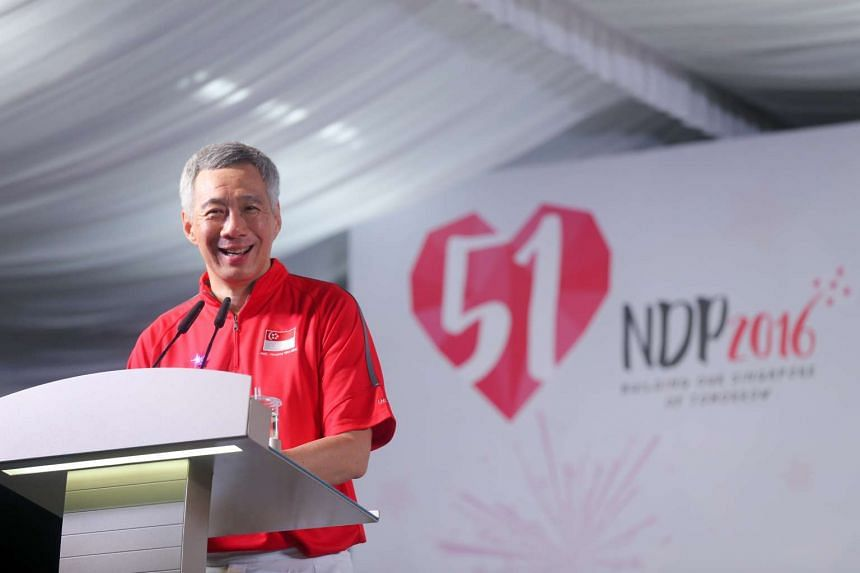PM Lee Hsien Loong at the Ang Mo Kio-Hougang National Day Dinner on Aug 7, 2016.
