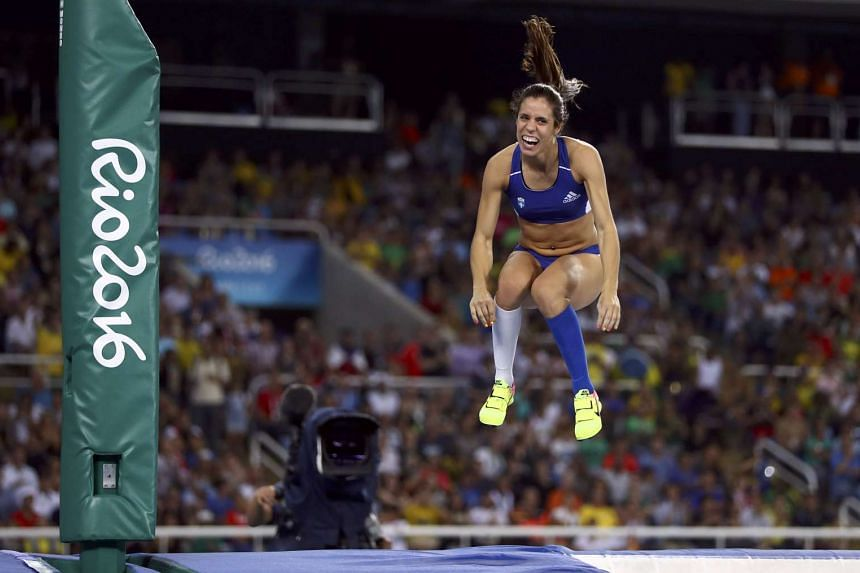 Ekaterini Stefanidi of Greece at the women's pole vault final.