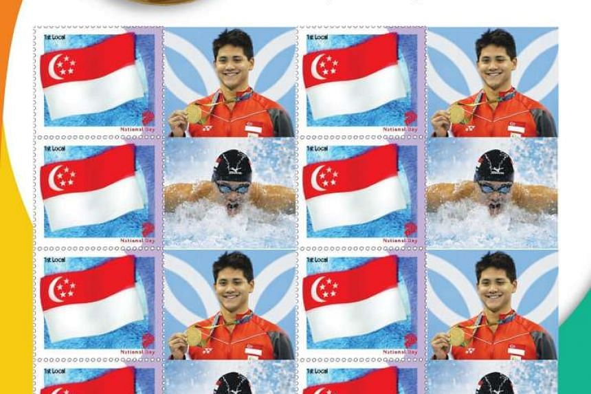 SingPost's first Olympic Gold issue features six stamps with photographs of Joseph Schooling's gold medal swim and victory ceremony.