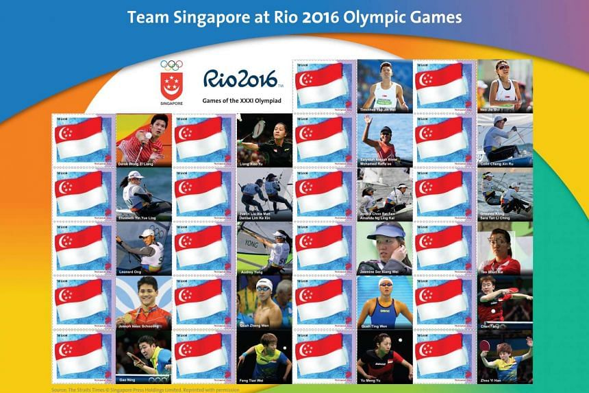 The Team Singapore MyStamp sheet, priced at $20, includes 22 stamps with a total stamp face value of $6.60. All 25 national athletes are seen in action.