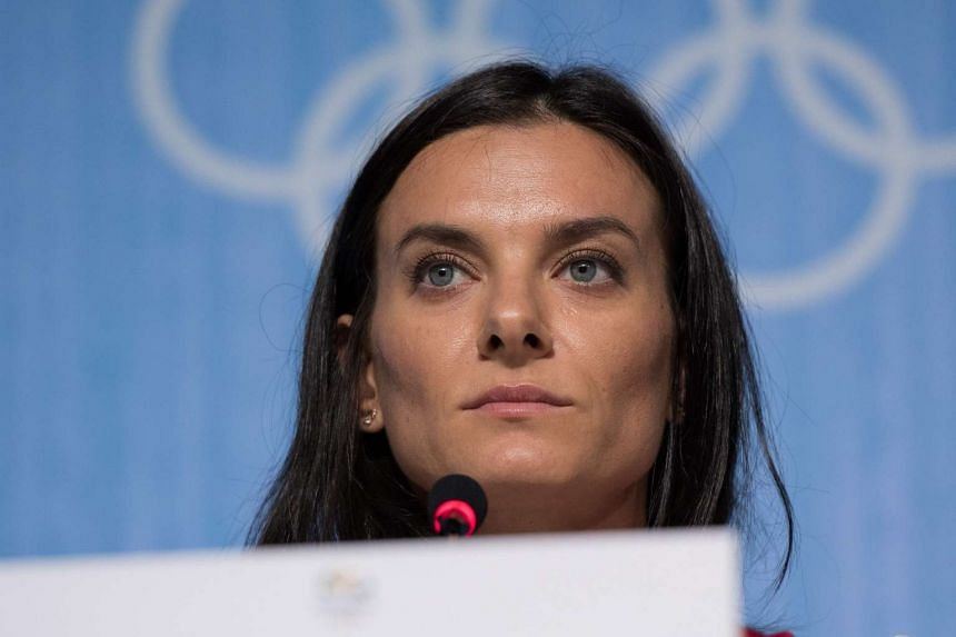 Two-time Olympic pole vault champion Russian Yelena Isinbayeva speaks during a press conference on Aug 19, 2016.