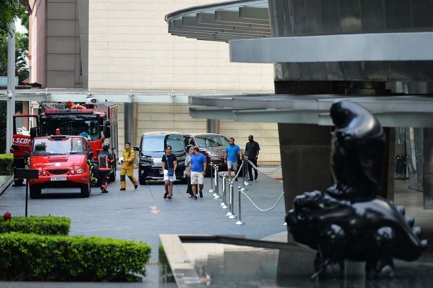 SCDF personnel and vehicles at the entrance of St Regis Singapore along Tanglin Road around 5.29pm on Aug 21, 2016.