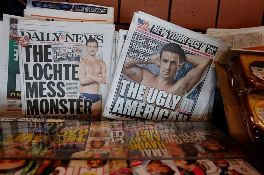 The front pages of the New York Post and the New York Daily News display the image of US Olympic swimmer Ryan Lochte in New York, US on August 19.