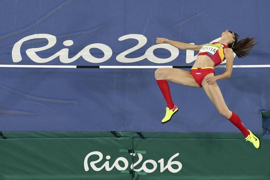 Ruth Beitia of Spain competes during the  women's high jump final on Aug 20.
