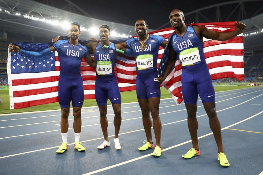 (From left) Arman Hall, Tony McQuay, Gil Roberts and LaShawn Merritt of USA celebrate winning the gold medal on Aug 20.
