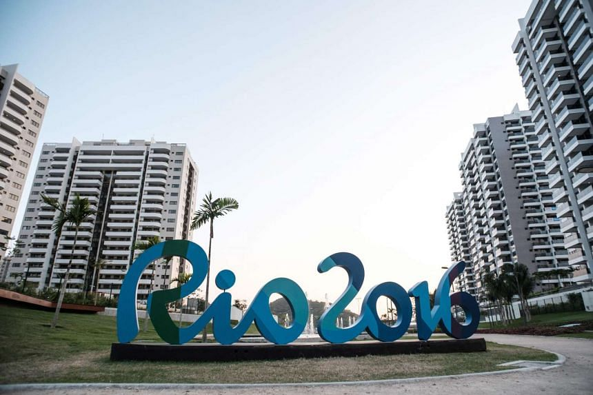 The logo of the Rio Olympic Games at the Olympic and Paralympic Village in Rio de Janeiro, Brazil, on July 23, 2016.