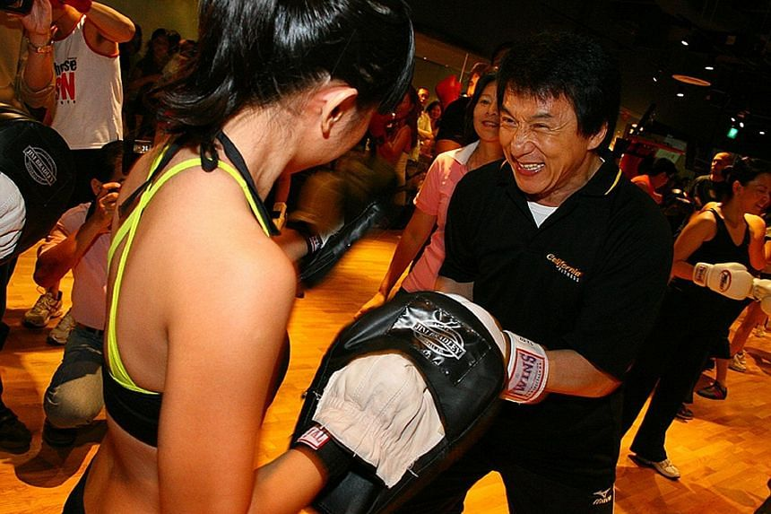 Jackie Chan having a friendly spar at the opening of California Fitness Jackie Chan Sport Club at Velocity@Novena Square. This was one of the four branches run by California Fitness in Singapore, before they were all shuttered over the past few month