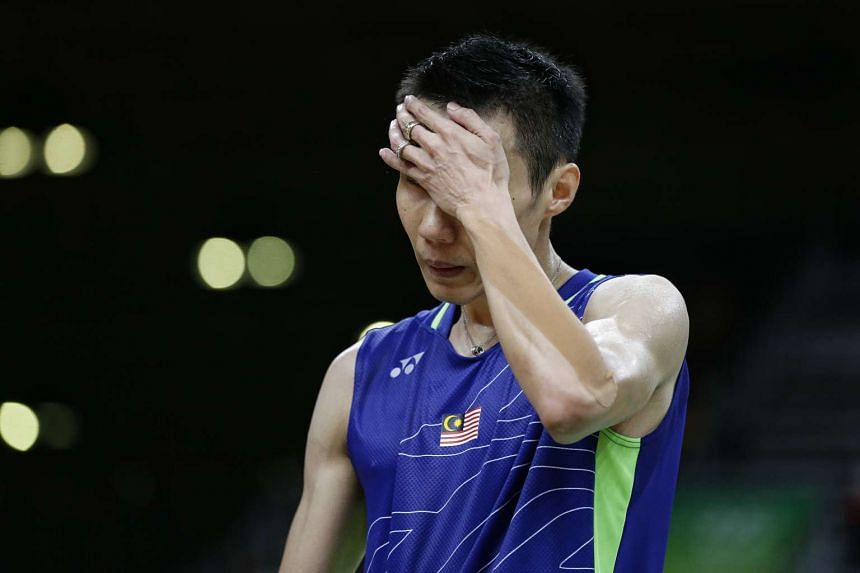 Lee Chong Wei of Malaysia reacts during the final.