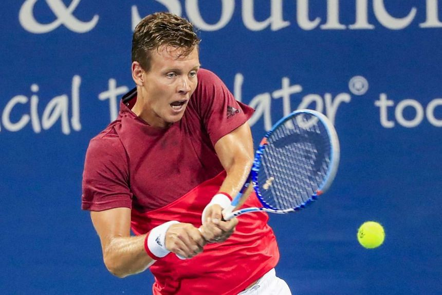 Berdych competing in Cincinnati, in the US, on Aug 17, 2016.