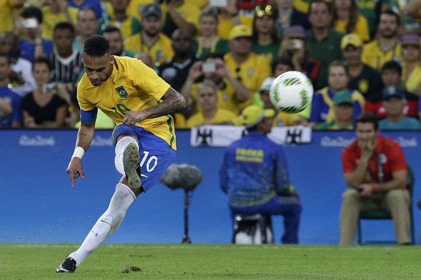 Neymar's free kick beating Germany's goalkeeper Timo Horn for a 1-0 lead at halftime on Aug 20.