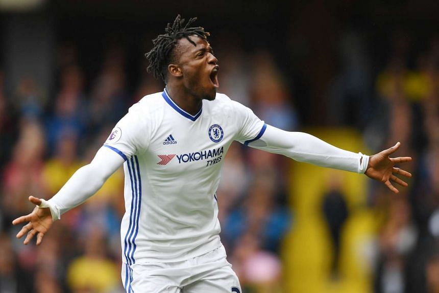 Chelsea's Michy Batshuayi celebrates scoring their first goal.