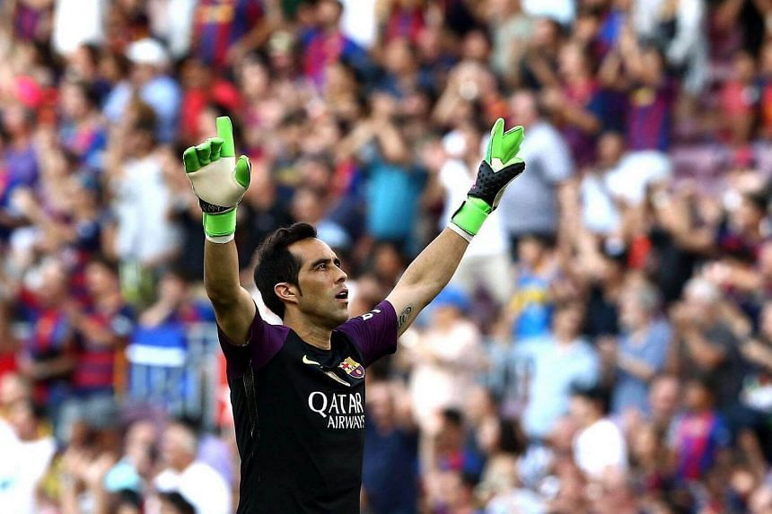 Chilean goalkeeper Claudio Bravo during the Primera Division league match at Camp Nou in Barcelona, northeastern Spain on August 20.