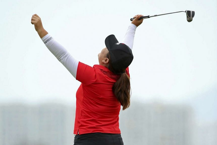 Park reacts on the 18th green as she wins the gold medal.