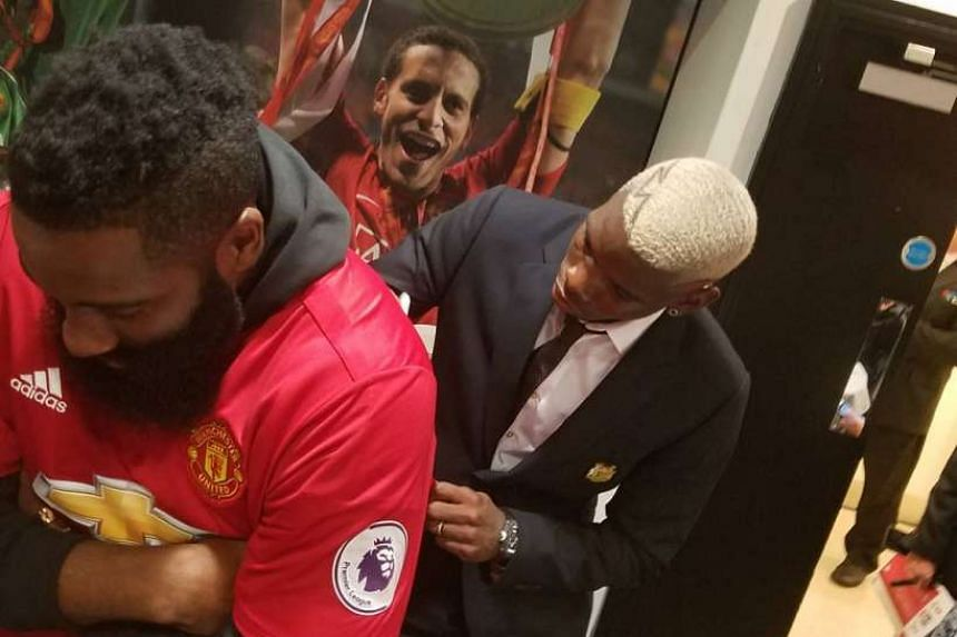 Harden posted pictures of him meeting up with Pogba at Old Trafford with the new Manchester United recruit signing his jersey.