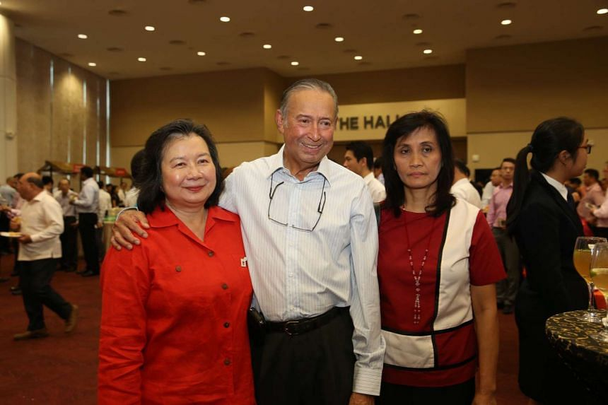 May Schooling (left) and Colin Schooling, Joseph Schooling's parents, and their helper at the National Day Rally 2016 on Aug 21, 2016.