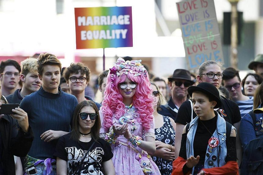 Supporters attend a marriage equality rally in Sydney, Australia on August 13.