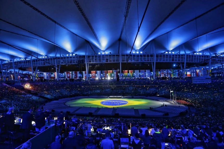 Projection of Brazilian flag during the closing ceremony of the Rio 2016 Olympic Games at the Maracana in Rio de Janeiro, Brazil, on Aug 21, 2016.