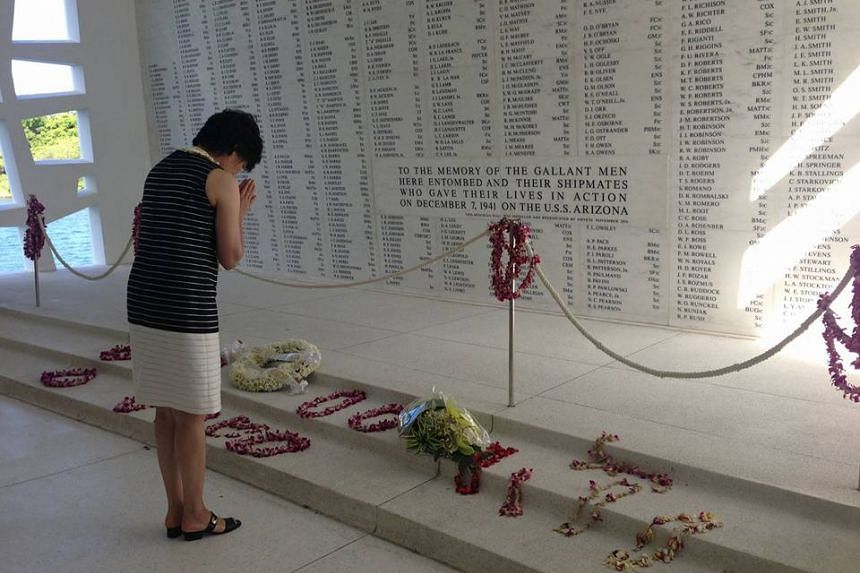 Mrs Akie Abe, wife of Japanese Prime Minister Shinzo Abe, during her visit to Pearl Harbour.