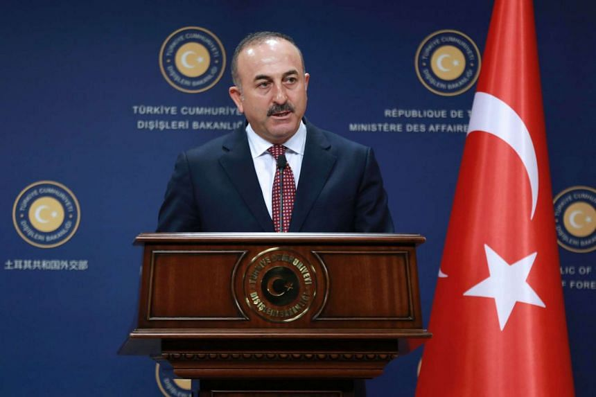 Turkish Foreign Minister Mevlut Cavusoglu speaks at a conference in Ankara on Aug 12, 2016.