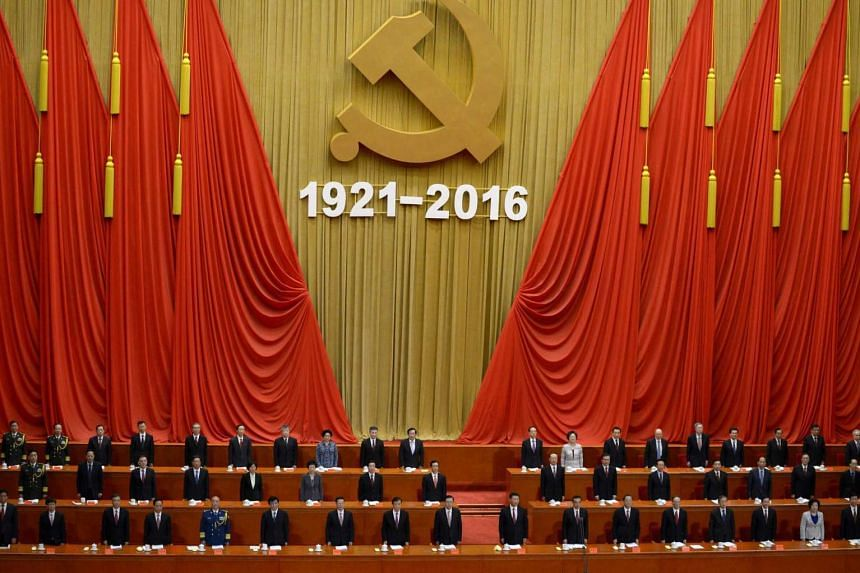 The celebration ceremony of the 95th Anniversary of the Founding of the Communist Party of China at the Great Hall of the People in Beijing on July 1.