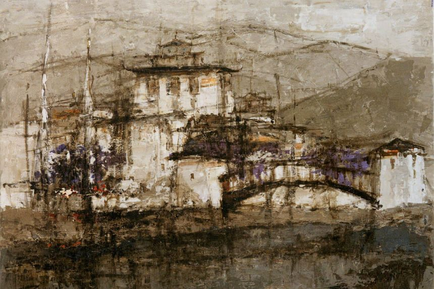 One of Ang's works, titled Punakha Dzong.