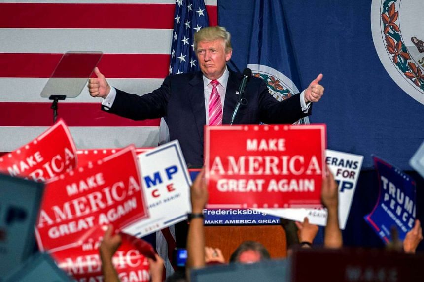 Republican presidential nominee Donald Trump delivers remarks at a campaign rally in Fredericksburg, Virginia, USA, on August 20.