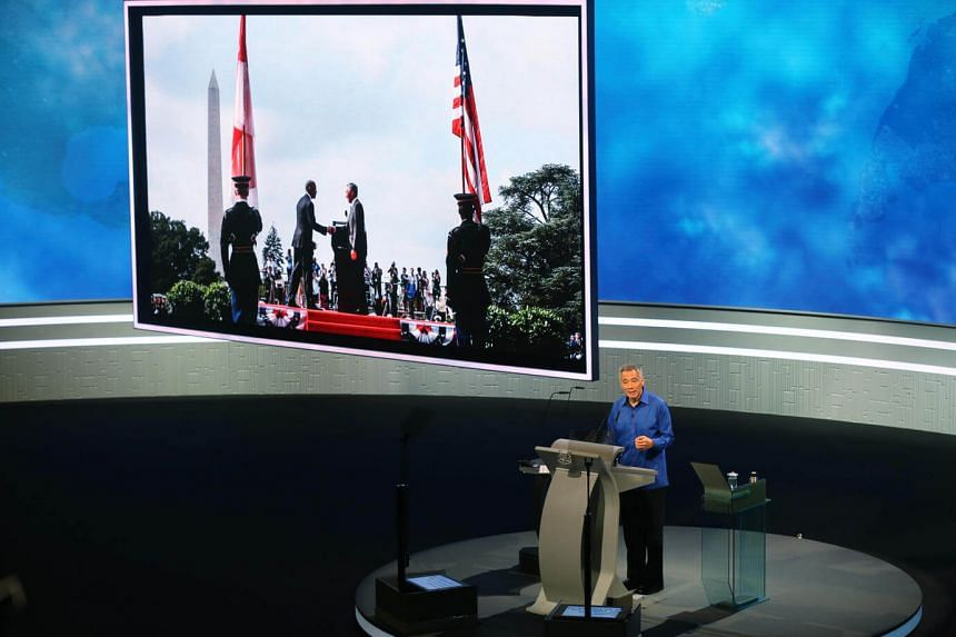 PM Lee Hsien Loong delivers the National Day Rally 2016 speech at ITE College Central on August 21.