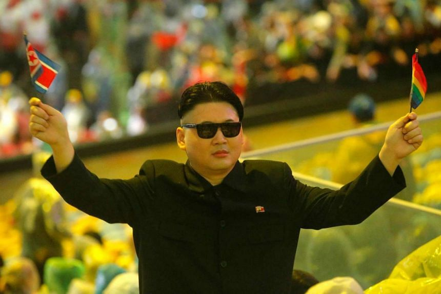 A look-alike of North Korean President Kim Jong-un during the closing ceremony.