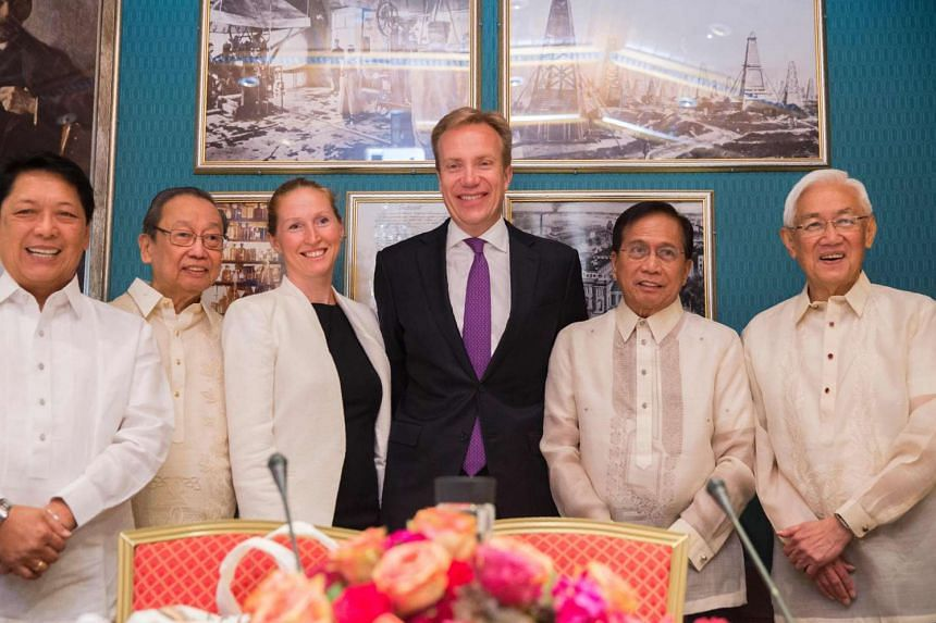 (From left) Phillipine Presidential Adviser on the Peace Process Silvestre H. Bello, Exiled Chief of the National Democratic Front of Philippines Jose Maria Sison, Elisabeth Slaattum from the Norwegian Foreign Minister´s office, Norwegian Foreign Mi