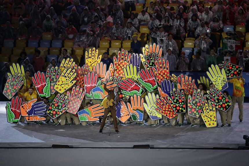 A dance performance by the Games volunteers during the closing ceremony of the Rio 2016 Olympic Games at the Maracana in Rio de Janeiro, Brazil, on Aug 21, 2016.