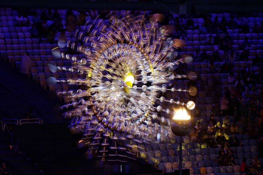 The Olympic flame as seen during the closing ceremony of the Rio 2016 Olympic Games at the Maracana in Rio de Janeiro, Brazil, on Aug 21, 2016.