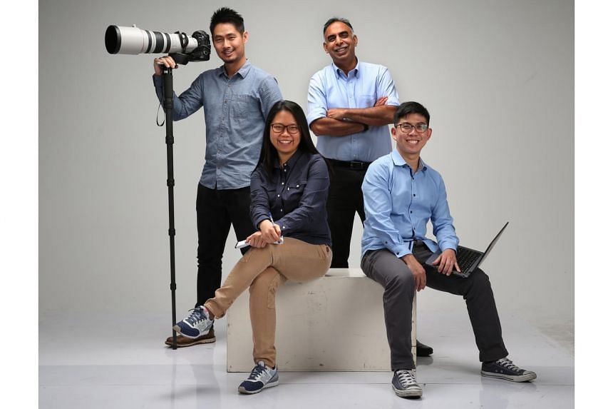 (Standing, from left) Executive photojournalist Kevin Lim, senior correpondent Rohit Brijnath, (seated, from left) correspondents May Chen and Jonathan Wong covered the Rio 2016 Olympic Games for The Straits Times.