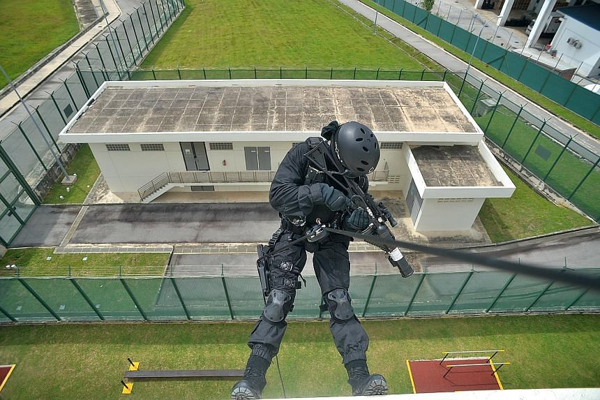 Mock-ups of actual prison housing units allow training to be carried out more realistically. Officers are trained in skills including rappelling.