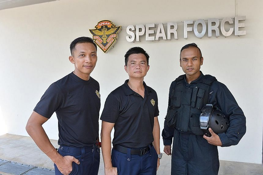 (From left) Assistant Superintendent Rohaizad Mohamed Athmad, Superintendent Ang Kien Tiong and Staff Sergeant Mohamed Hafiz Noor Mohamed at the Spear base.