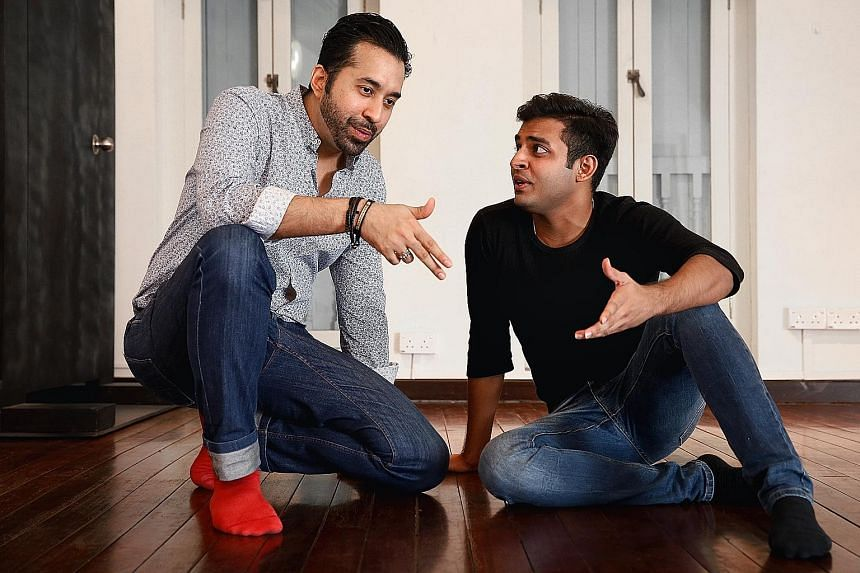 Mr Kamil Haque (left), overall producer of the Singapore Monologue Slam, with budding local actor Shrey Bhargava. The focus on monologues is significant as they are frequently used in auditions - when they are held - as the surest way to test a perfo