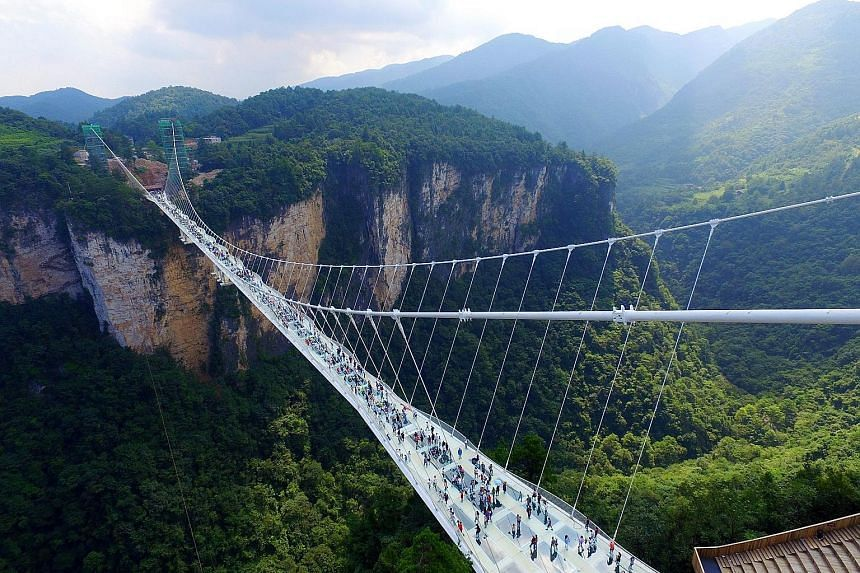 The world's highest and longest glass-bottomed bridge opened last Saturday in China's Zhangjiajie mountains - the inspiration for blockbuster movie Avatar. Some 430m long and suspended 300m above ground, the bridge spans the canyon between two mounta