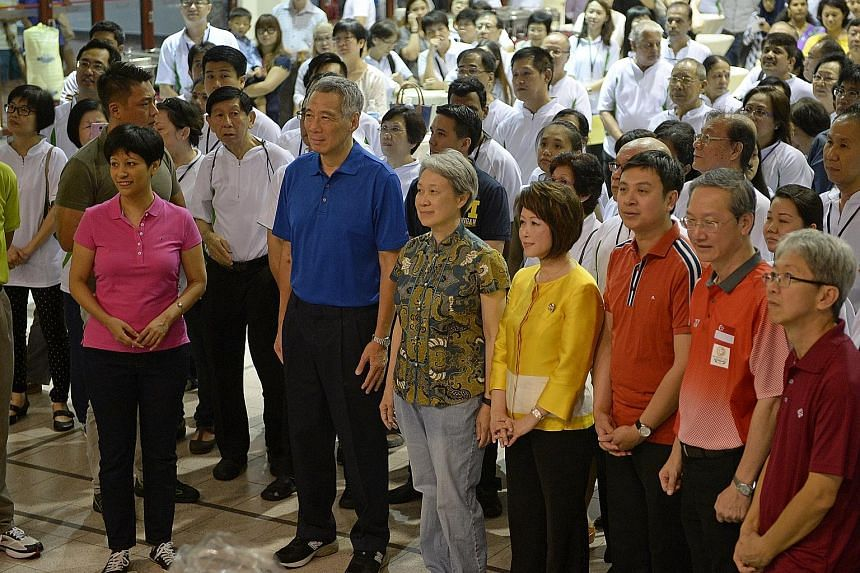 Ms Indranee (left) with PM Lee and his wife Ho Ching at the Remembering Our Founding Prime Minister Lee Kuan Yew event in Duxton, deep in the heart of the Tanjong Pagar ward, in April last year. In his speech, PM Lee recalled a Tanjong Pagar resident