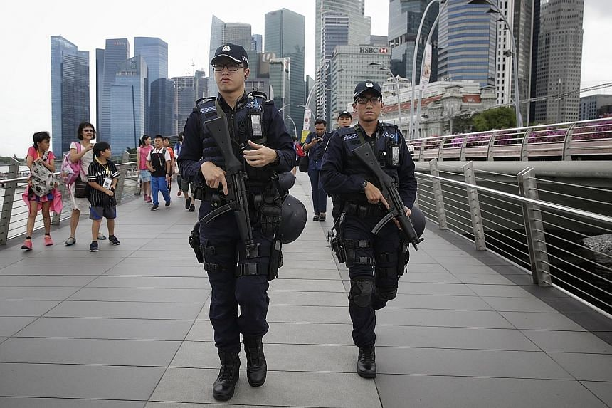 A patrol along Jubilee Bridge last month. Patrols by security forces have been stepped up in response to the terrorist threat.