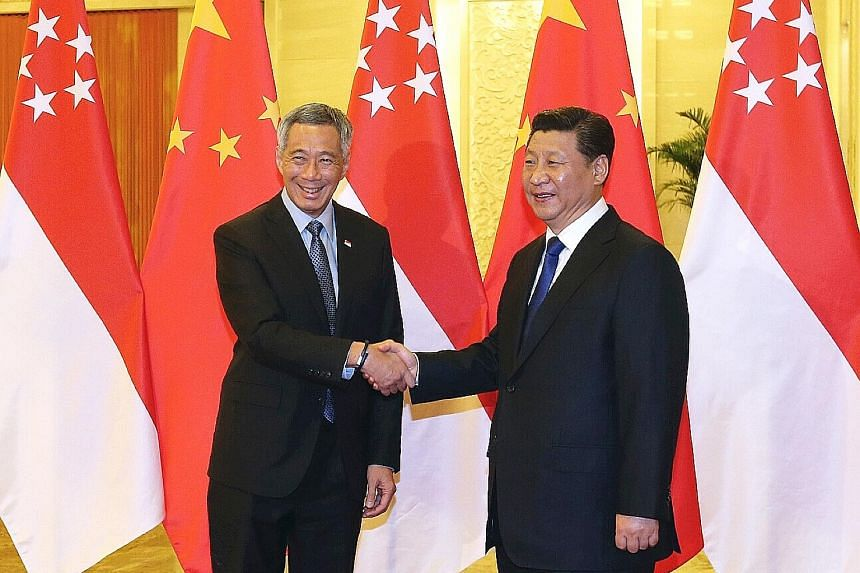 Mr Lee with Chinese President Xi Jinping at the Great Hall of the People in Beijing in November 2014. Singapore's relationship with China is much broader than the single South China Sea issue, said Mr Lee.