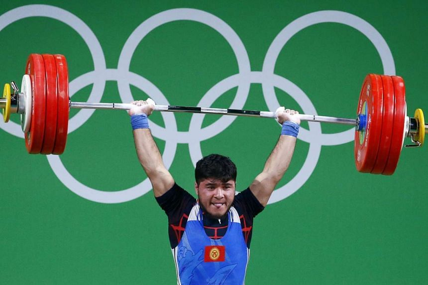 Izzat Artykov of Kyrgyzstan, who tested positive after a doping exam, competing during the men's 69kg category of the Rio 2016 Olympic Games on Aug 9, 2016.